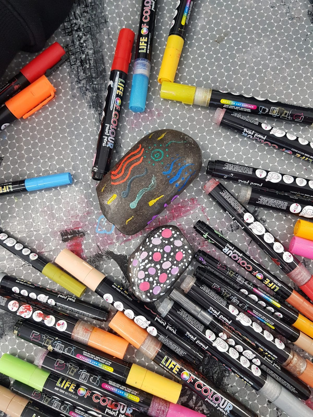 Paint pens and Rocks
