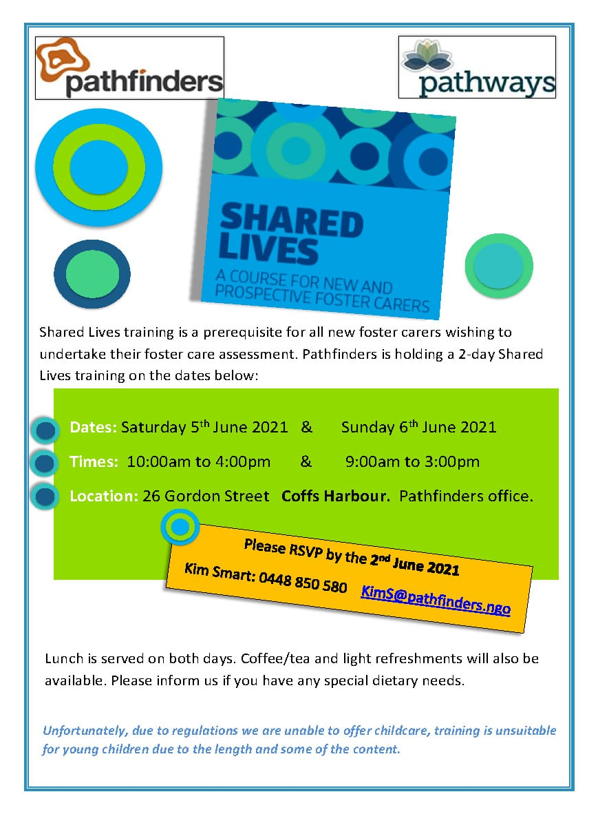 Shared Lives training invite Coffs Harbour